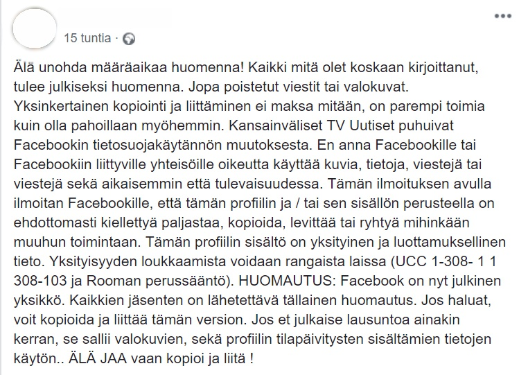 facebook huijaus