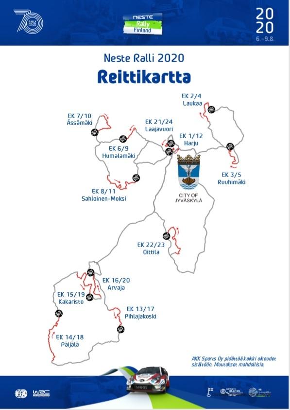 Suomen Mm Rallin 2020 Erikoiskokeet Reitti Ja Aikataulu Julki