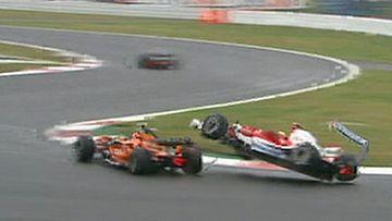 Sakon Yamamoto ja Ralf Schumacher (Kuva: MTV Oy/FOM)