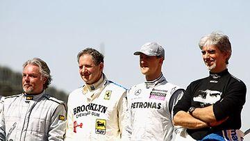 Maailmanmestarit Keke Rosberg (1982), Jody Scheckter (1979), Michael Schumacher (1994-95, 2000-2005) ja Damon Hill (1996) Bahrainissa 2010.