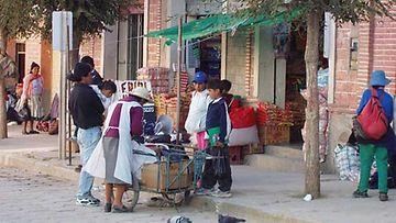 Paikalliset ostoksilla Boliviassa katumarketissa