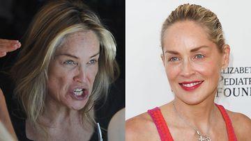 Sharon Stone ilman meikkiä ja meikillä.