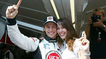 Jenson Button ja Louise Griffiths vuonna 2004.