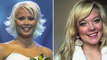 Johanna Pakonen ennen tangokuningattareksi kruunaamistaan vuonna 2001 ja vuonna 2013 tangokuninkaalliseksi pyrkivä nimikaima Johanna Pakonen.