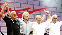 Pink Floyd 2005. David Gilmour, Roger Waters, Nick Mason, Rick Wright. Syd Barret ei ole kuvassa. Photo by: MJ Kim/Getty Images