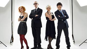 Tanssi Tähtien Kanssa 2009 tuomaristo. Susanna Rahkamo, Jorma Uotinen, Helena Ahti-Hallberg ja Jukka Haapalainen (MTV3)