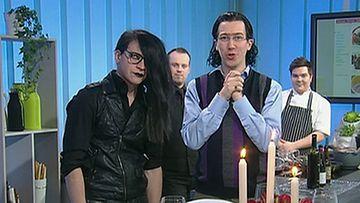 Putous-ohjelman sketsihahmot Veli Sikiö ja Karim Z. Yskowicz vierailivat Makuja-keittiössä perjantaina 22.2.2013.