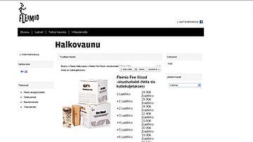 Maksaisitko 7,5 kilosta halkoja 24,90 euroa? Kuvakaappaus sisustushaloista fleimio.fi