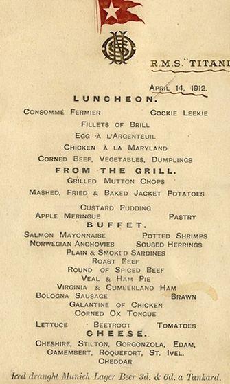 Tältä näytti Titanicin ykkösluokan viimeinen lounasmenu