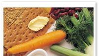 voita, leipää ja vihanneksia