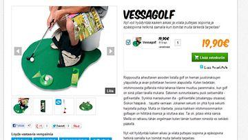 Uusi suosikkilaji, vessagolf. Kuva on ruutukaappaus Coolstuff.fi-sivustolta.