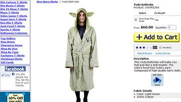 Tee isälle palvelus ja pue hänet Yoda-kylpytakkiin. Ruutukaappaus 80stees.com-sivustolta.