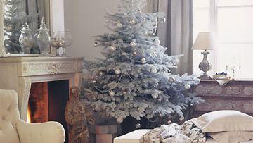 Joulukuusi pukeutuu valkoiseen spray-lumen avulla.