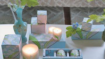 Designers Guildin Lily-kynttilät tuoksuvat miedosti liljallei. Kuva: Designers Guild