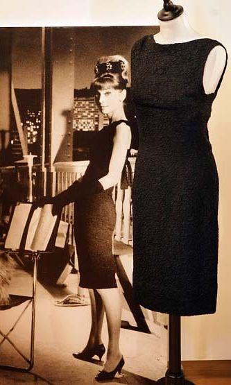 A Givenchy black cloque silk dress worn by Audrey Hepburn.