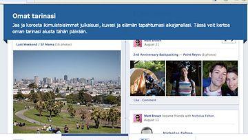 Facebookin Timeline eli aikajana näyttää tältä.