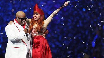 Cee Lo Green ja Paloma Faith BRIT Awards -gaalassa.