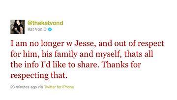 Kat Von D ilmoitti erosta Twitterissä.