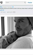 Victoria Beckham julkaisi kuvan Harper-tyttärestään Davidin sylissä