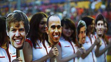 Sebastian Vettel, Lewis Hamilton, Fernando Alonso ja Mark Webber, Singapore Formula One Grand Prix 2011