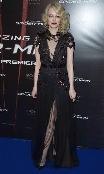 Näyttelijä Emma Stone uuden Spiderman-elokuvan ensi-illassa Pariisissa, Ranskassa.