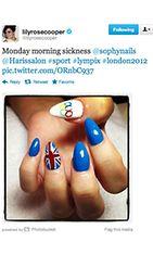 Lily Allenin kynnet Lontoon 2012 Olympialaisten henkeen. Nainen jakoi kuvan Twitteriin.