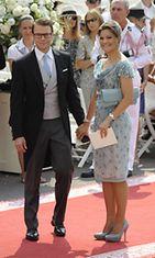 Kruununprinsessa Victoria ja prinssi Daniel vieraana ruhtinas Albertin häissä.