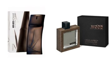 KenzoHomme Woody Eau de Toilette 55,50 e/50 ml ja Dsquared2:n Rocky Mountain Wood n.60 e/50 ml.