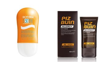 Biothermin Sun Sensitive -voide kertoimella 50, 37,50 e/75 ml ja Piz Buinin Allergy Face Lotion SPF 30, 17,50 e/40 ml.