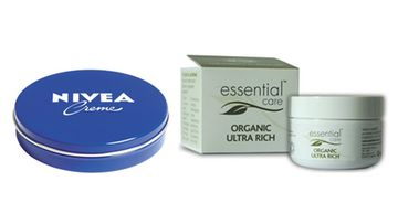 Nivea Creme 2,15 e/75 ml, Essential Caren Organic Ultra Rich 12,50 e/50g.