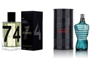 Icebergin Eau pour Homme 30 e/100 ml ja Jean Paul Gaultierin Le Male Terrible 62 e/75 ml.
