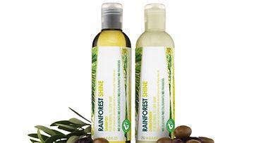 The Body Shopin Rainforest Shine -tuotteet lisäävät hiusten kiiltoa.