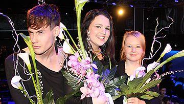 Mert Otsamo, Katri Niskanen ja Maria Jokela. Kuva: MTV3.