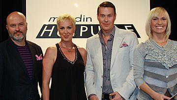 Vierailevat tuomarit Aki Choklat ja Merja Larivaara sekä vierailevat tuomarit Anssi Tuupainen ja Minna Cheung. Kuva: MTV3.