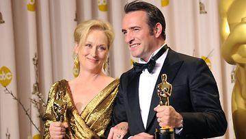 Meryl Streep ja Jean Dujardin Oscar-gaalassa 2012