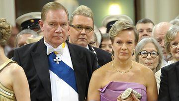 Sdp:n presidenttiehdokas Paavo Lipponen ja puoliso, kansanedustaja Päivi Lipponen