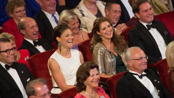 (L-R, middle row) Sweden's Prince Daniel, Crown Princess Victoria, Princess Madeleine and Mr Christopher O'Neill and in front of them Queen Silvia and King Carl Gustaf of Sweden laugh at the Swedish Riksdag's jubilee concert at the Concert Hall in Stockholm, Sweden, 14 September 2013, to celebrate the King's 40th anniversary on the throne.