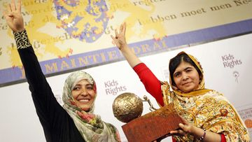 The 16-year old Malala Yousafzai (R) from Pakistan received the International Children's Peace Prize handed over from Yemeni Civil Rights activist and 2011 Nobel Peace Prize winner Tawakkul Karman (L) at the Ridderzaal in the Hague, the Netherlands, 06 September 2013. Malala was attacked by Taliban on 09 October 2012 for advocating girls rights to education and wounded along with two schoolmates.