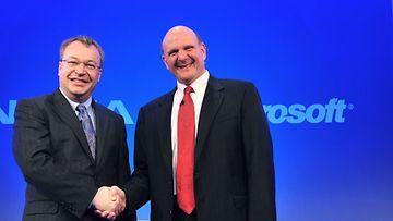 Nokian johtaja Stephen Elop ja Microsoftin johtaja Steve Ballmer Lontoossa 2011.