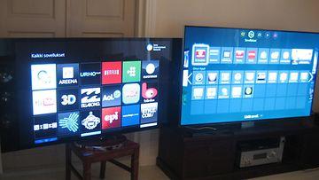 Sonyn 55-tuumainen KD-55X9005A -4K-televisio, sekä Samsungin 65-tuumainen F9005 4K-jättitelevisio