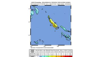 A handout image released by the US Geological Servey (USGS) on 16 October 2013 showin a shake map of the 7.1 earthquake that struck the Bougainville Region of Papua New Guinea. There were no significant injuries or damage reported at this point.