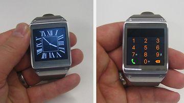 Geariin voi asentaa vaikkapa klassisen näköisen kellotaulun näin halutessaan. Oikealla näkyy numeronäppäimistö puheluiden tekemiseksi.