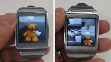 Samsung Galaxy Gearilla napatut kuvat ja videot voi siirtää suoraan kännykkään, mutta niitä voidaan katsoa myös kellon omalta näytöltä.