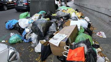 A pile of rubbish is seen on the ground in Madrid, Spain, 12 November 2013. Workers of the cleaning and gardening sector started an ongoing strike on 05 November to protest against the employment regulation plan proposed by the three contractors working for the city hall that would affect up to 1,144 workers.