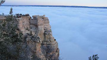 Sumupilvi peitti näkymät Grand Canyonilla 2013. Kuva: Jussi Hakanen