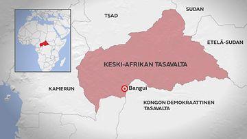 Kartta: Keski-Afrikan tasavalta