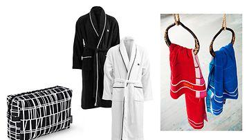 Saunomista rakastava isä arvostaa Hemtexin pehmeää kylpytakkia, Finlaysonin Sport-pyyhkeitä ja Coronna-toalettilaukkua.