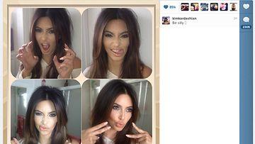 Kim Kardashian pelleili kuvauksissa.