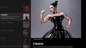 Serbialainen kehonrakentaja Jelena Abbou MAC-merkin kosmetiikkakasvona.