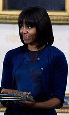 Michelle Obama presidentti Barack Obaman virkaanastujaisissa 2013.